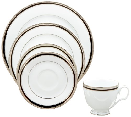 Noritake Austin Platinum 5-Piece Place Dinnerware Setting in Black/White