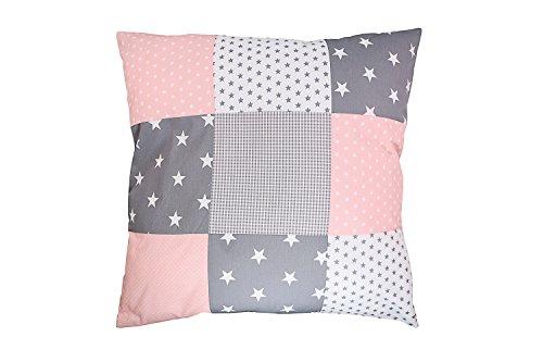 ULLENBOOM ® Baby Patchwork Kissen 60x60 cm Rosa Grau (Made in EU) - mit Füllung & weichem Kissenbezug aus Baumwolle, als Kinderkissen oder Dekokissen im Kinderzimmer