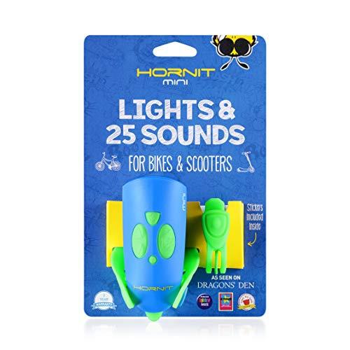 Hornit Mini Grün / Blau Fahrradklingel Fahrradhupe Signalhorn mit Licht für Kinder - 25 Soundeffekte und 5 Lichteffekte - Fahrradglocke