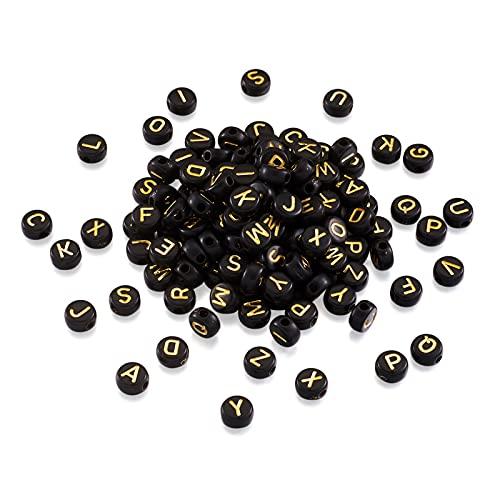 Cheriswelry 100 cuentas de acrílico chapado en oro negro con letras A-Z de 7 mm y disco redondo plano de la moneda espaciadora de los abalorios para la fabricación de pulseras de joyería