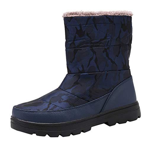 Yowablo Damen Stiefeletten Worker Boots Übergrößen Warm Gefüttert Plus Samt warme Tarnung Schuhe wasserdicht Schnee Baumwollstiefel (42 EU,Damen-Blau)