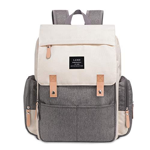 Mochila para pañales de Land con bolsillos aislados, cambiador, correa para cochecito, bolsa de hombro informal para maternidad Grey And Beige