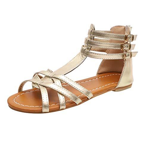 Patifia Sommerschuhe, Frauen Sommer Mode Sandalen Schnalle Flacher Leopard Retro Peep Toe römische Schuhe Flache Schnalle Sandaletten Böhmische Sandalen für Damen ethnischen Hausschuhe