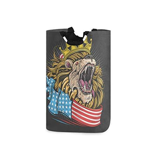 N\A Cesto de lavandería Cesto de Lavado de Ropa - King Lion USA Flag Cesto de lavandería Plegable Bolsa de lavandería de Gran Capacidad para baño, hogar