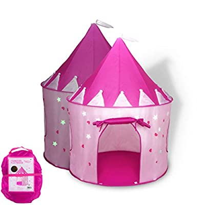 Foxprint Princess Castle Play Tent With Glow In The Dark Stars, Conveniently Folds In To A Carrying Case, Your Kids Will Enjoy This Foldable Pop Up Pink Play Tent/House Toy For Indoor and Outdoor Use by FoxPrint