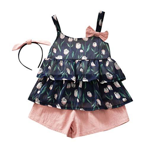Zylione MäDchen Kleidung Set Kinder Baby äRmellose Bogen Tulpe Blume Hemd Weste + Shorts + Stirnband 3 StüCk Anzug