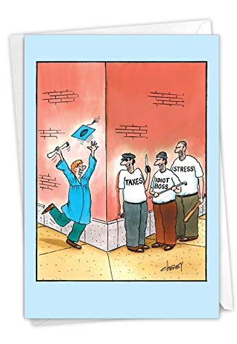 NobleWorks - 1 Funny Happy Graduation Card - Cartoon Humor for Grad, Congrats Graduate Notecard with Envelope - Happy Grad 4956