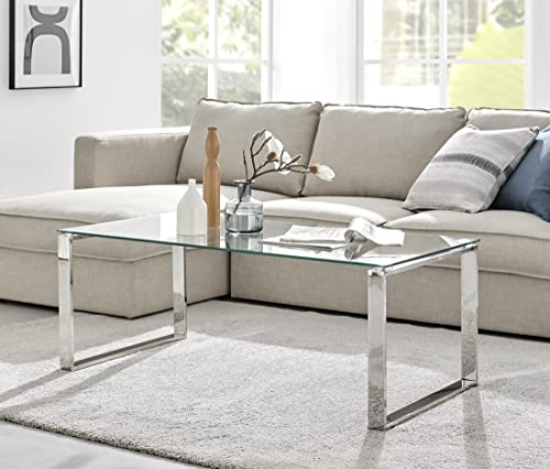 Furniturebox UK Miami Large Modern Clear Glass and Stylish Chrome Silver Metal Coffee Table - Luxury Minimalist Contemporary Living Room Furniture