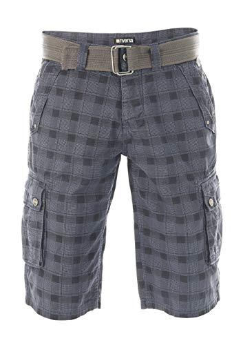 riverso Herren Cargo Shorts RIVAnton Gürtel Bermuda Kurze Hose 100% Baumwolle Blau Grau Oliv Schwarz Beige Kariert w30 - w46, Größe:W 32, Farbe:Washed Indigo Blue Black (19300)