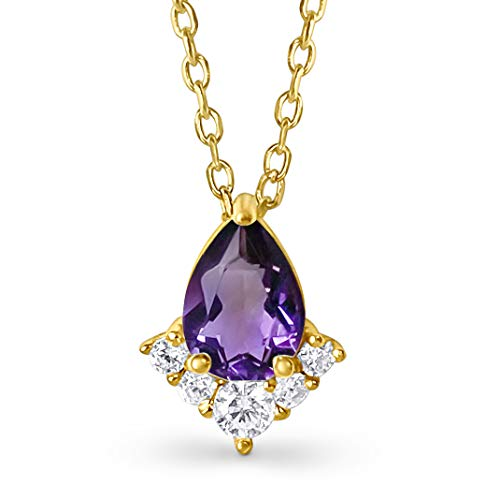 18k Gold Plated Genuine Amethyst Crystal Pendant Necklace for Women - 0.75ct (Amethyst - Purple)