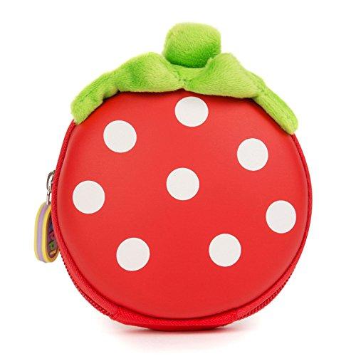 boppi Kids Keyring Pouch Coin Purse Mini Travel Wallet Keychain Holder Zipper Clutch Bag - Strawberry