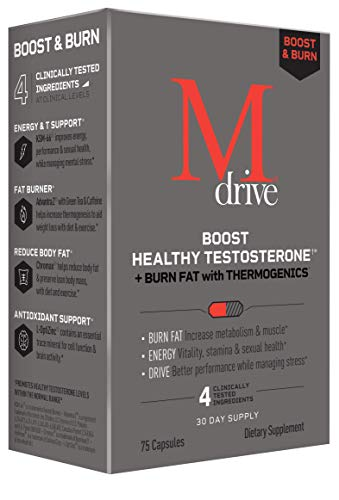 Mdrive Boost and Burn Testosterone Booster and Fat Burner with Zinc, KSM-66 Ashwagandha, Advantra Z, 75 Count