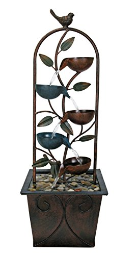 Nature's Garden D9390 Cascade Cups Metal Tabletop Fountain, Brown