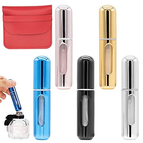 5Pcs Mini Refillable Perfume Atomizer with Red Leather Sheath, JC-Houser Portable Empty Perfume...