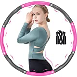 DUTISON Hula Hoop Fitness Adulto, 6-8 segmentos extraíble y de tamaño Ajustable para reducción de Peso/Fitness/Deporte con Mini Cinta métrica (Gris + Rosa + Saltar la Cuerda)