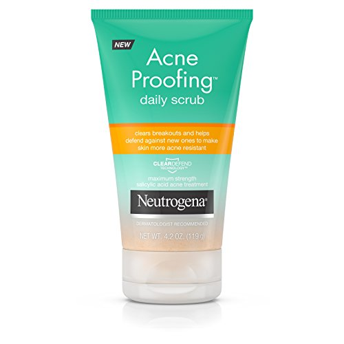 Neutrogena Acne Proofing Daily Salicylic Acid Treatment Exfoliating and Cleansing Face Scrub, 4.2 Ounce