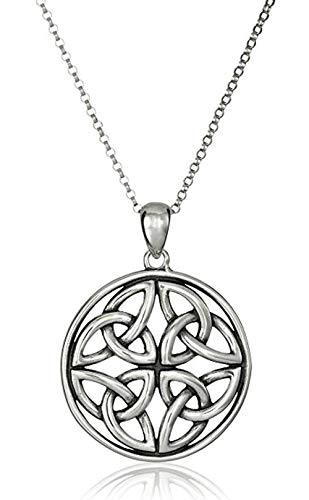 Sterling Silver Celtic Knot Necklace 18 inch Continuity of Life Necklace for Women Anniversary Birthday Mother's Gift SSNK18-4S