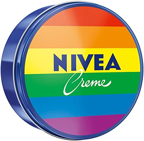 NIVEA Creme Dose Limited Edition im Regenbogen-Design (250 ml), klassische Feuchtigkeitscreme für alle Hauttypen, reichhaltige Hautcreme mit pflegendem Eucerit