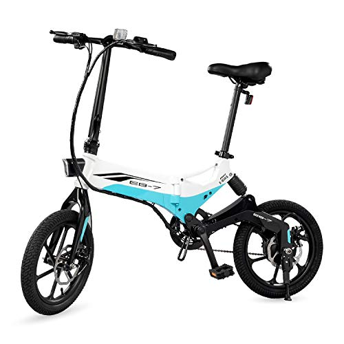 Swagtron Swagcycle EB-7 Elite Folding Electric Bike, 16-Inch Wheels, Swappable Battery with Keylock & Rear Suspension (White),Large