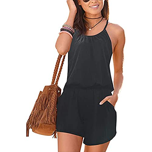 Jusfitsu Womens Summer Jumpsuit Cotton Pocket Short Romper Strappy Sleeveless Loose Playsuit Elastic Band Outfit Solid or Print Floral Black L