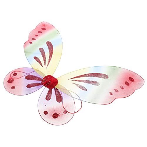 ifundom Alas de Hadas Alas de Mariposa Encantadoras Alas de ngel para Nios Disfraz de Fiesta de Carnaval Cumpleaos Primavera Pascua Ao Nuevo Rendimiento Suministros de Fiesta Rojo