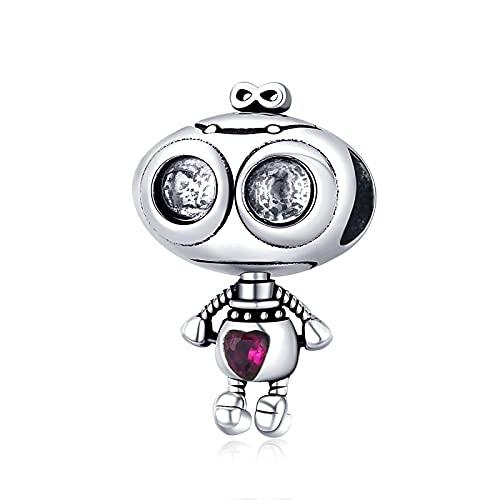 Robot con Forma De Amor, Colgante De Plata De Ley 925 para Pulsera Original, Brazalete con Cuentas, Regalo para Mujer, Fabricación De Joyas, Cuentas Sueltas DIY
