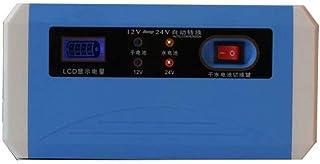 Smart bil motorcykel batteriladdare puls reparation batteriladdare 12V24V (blå)