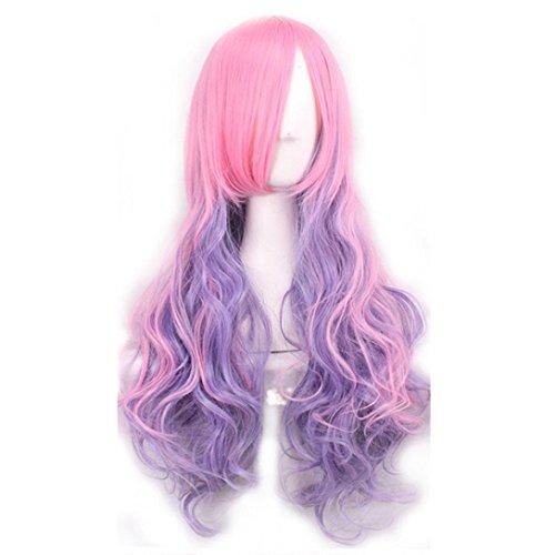 MuSheng(TM) Femmes Long cheveux perruque bouclés ondulés synthétique anime Cosplay Party Full perruques (A)