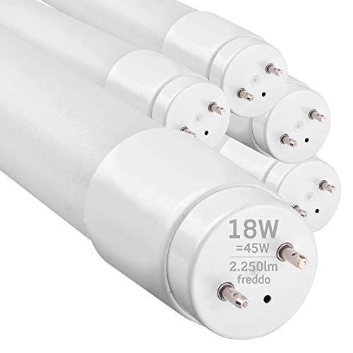 5x Tubi LED 120cm G13 T8 18W Professionale Alta Efficienza Garanzia 5 Anni 2250 lumen - Luce Bianco Freddo 6400K - Fascio Luminoso 160° - Sostituzione Neon