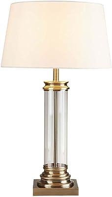 Pedestal Lampe de table, colonne en verre et socle en laiton antique, abat-jour crème