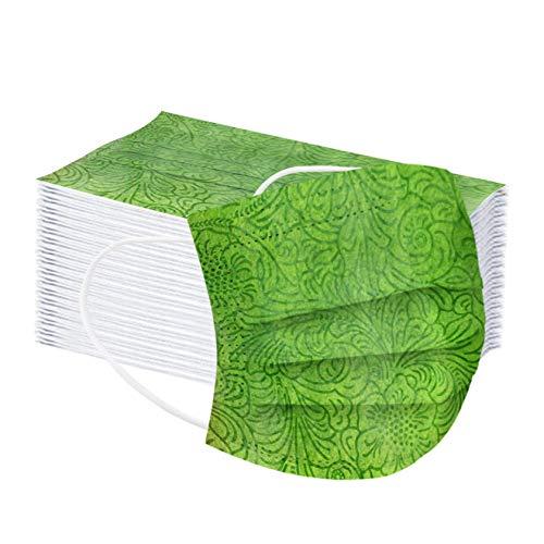 50 Stück Einfarbig Einmal-Mundschutz Erwachsene Atmungsaktiv Mund und Nasenschutz Mundbedeckung Drucken Halstuch 3-lagig Multifunktionstuch (50pc, Grün)
