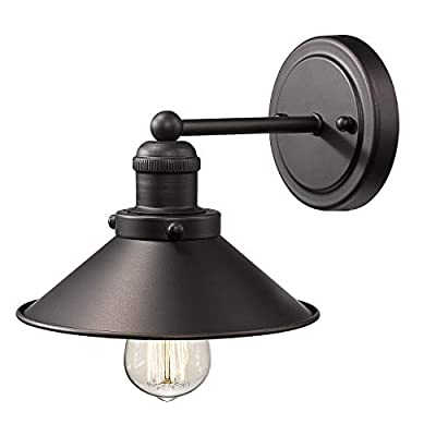 Zeyu 1-Light Industrial Vanity Wall Sconce, Vintage Wall Light Fixture in Oil Rubbed Bronze Finish with Metal Shade, 102-1W ORB