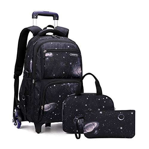 Bansusu 3 in 1 Galaxy Prints Primary Middle School Boys Wheeled Bookbag Satchels Large Capacity Rolling Backpack Set with Lunch Bag