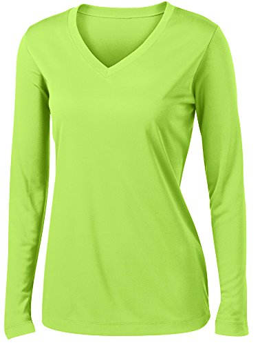 Animal Den Ladies Long Sleeve Moisture Wicking Athletic Shirts Sizes XS-4XL Lime-S