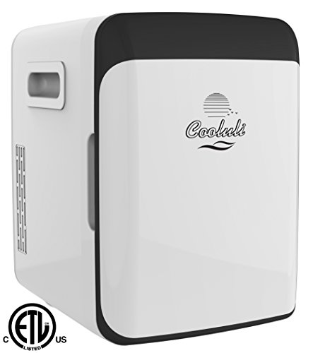 Cooluli CMF15LW Mini Fridge Electric Cooler and Warmer AC/DC Portable Thermoelectric System, Compact Refrigerator, 15 Liter/18 Cans, white