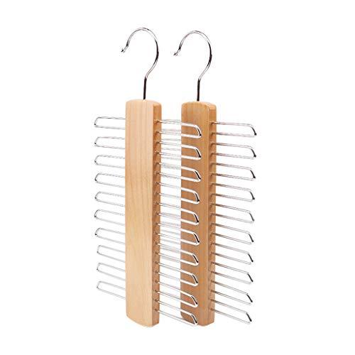YO-HAPPY Perchero, Wooden 20 Bar Tie Rack Hanger - Bufanda, cinturón, Organizador de Accesorios