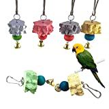 Bird Grinding Beak Calcium Stone With Bell,Rat Mineral Lava Block Trimming Teeth Chewing Toys for Chinchilla Bunny Budgie Cockatiel Parakeet Parrot 6-Pcs(Random Delivery Of Color)