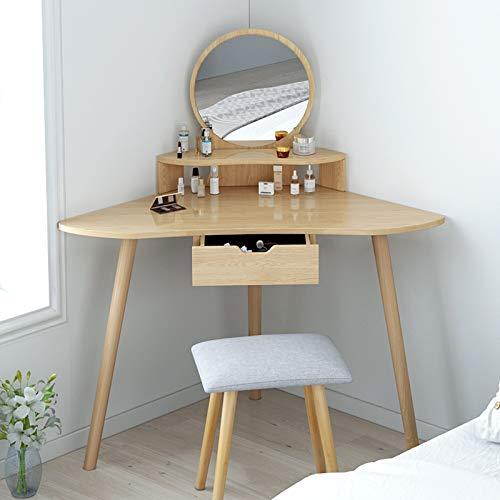Hoek gebogen dressoir tafel make-up bureau met ronde spiegel, voor slaapkamer dressoir tafel voor meisjes, 1 grote schuifladen