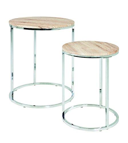 Haku Möbel 33984 Lot de 2 Tables Basse Acier/MDF Chromé-Chêne San Remo 50 cm