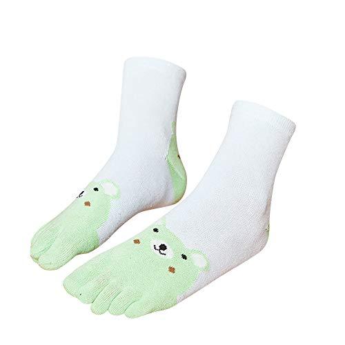 Dasongff Calcetines para niños, multicolor, de algodón, para zapatillas, calcetines para niña, bonitos patrones de animales, divertidos calcetines para tobillo verde M