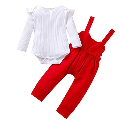 Shiningwe Neugeborene Kinder Einfarbig Strampler und Overalls, Baby Mädchen Baumwolle Bodysuit und Strapshose Lässigers Outfits Anzug
