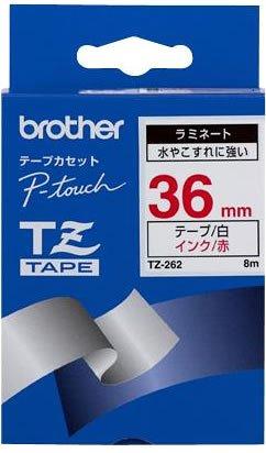 Brother TZ262 Schriftbandkassette 36mm x 8m rot auf weiß laminiert für P- touch 550 3600 series