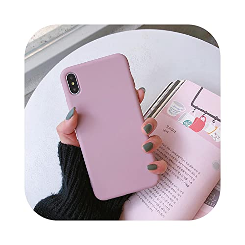 Candy Phone Case Para iPhone11ProMax XR Xs Max 7 8plus 6splus Simple Color sólido Silicona Suave Para iPhone11 Caso cubierta-Rosa-Para iPhone8plus