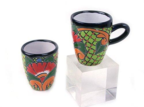 bunte Tasse, handbemalt, Cappuccino, doppelter Espresso, 125 ml Inhalt, hellgrün - einzeln