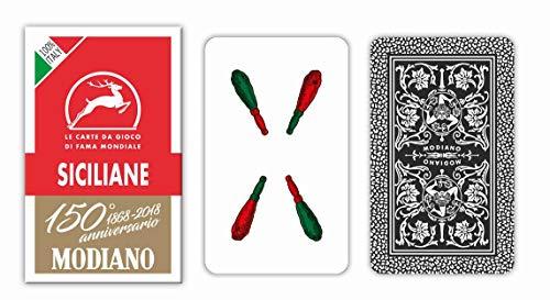 Modiano- Carte da Gioco regionali Siciliane, Colore Astuccio Rosso, 300083