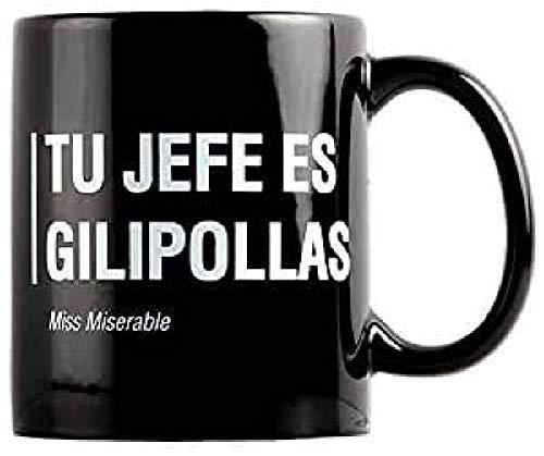Miss Miserable Taza Jefe es gilipollas Desayuno Tazas graciosas – Regalo Original...