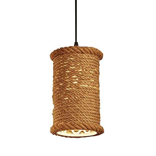 HTL Lámparas de Techo de Canales de Cabeza Única Luces Colgantes Rurales Americanos, Cuerda de Cáñamo Luces Colgantes Fijo para Comedor Tienda de Ropa Aisle Balcón Bar Y Café,Natural