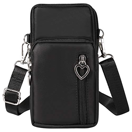 Small Cell Phone Purse Pouch Travel Crossbody Bag Wristlet Armband with Shoulder Strap for iPhone 11 Pro Max/Galaxy S20 Ultra S20 Plus/LG V60 ThinQ Stylo 6, 5 Pixel 4XL Moto G Power Stylus(Black)
