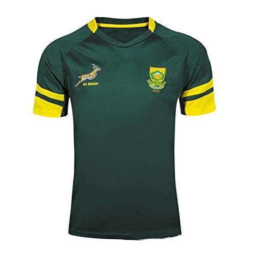 WYNBB 2018-19 Südafrika Rugby Jersey Rugby-Trikot für Männer Kurzarm-Freizeit-T-Shirt-Trainingsanzüge,GREEN2,L/175-180CM