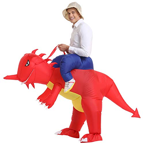 YEAHBEER Inflatable Dinosaur Costume T-Rex Fancy Dress Halloween Blow up Costumes Adult (Red Dinosaur Adult)